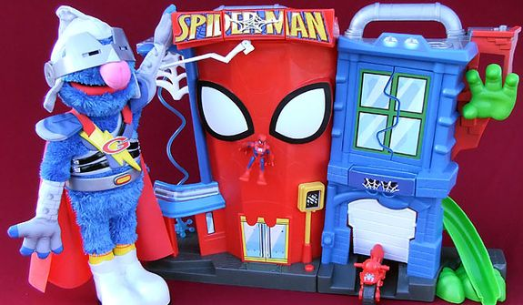 Gift ideas for the younger role players  include Playskool's Flying Super Grover 2.0 and Hasbro's Spider-Man Stunt City. (Photograph by Joseph Szadkowski)