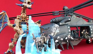 Mega Bloks' World of Warcraft: Arthas and Sindragosa and Meccano's Gears of War: King Raven are gift ideas for the builders. (Joseph Szadkowski/The Washington Times)
