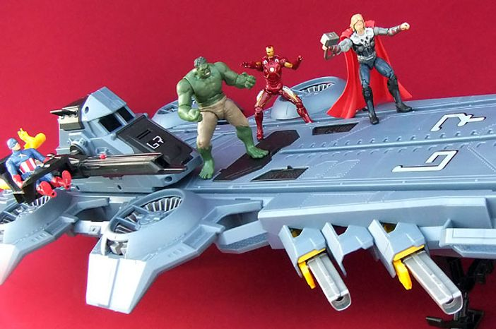 Captain America, Hulk, Iron Man and Thor aboard Hasbro's S.H.I.E.L.D Helicarrier. (Photograph by Jo