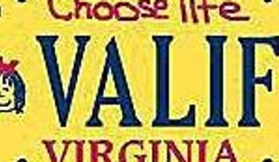 "**FILE** The Virginia Department of Motor Vehicles ""Choose Life"" license plate."