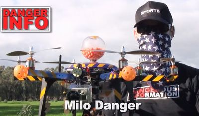 Milo Danger is the pseudonym of a man who posted a video to YouTube (screen grab shown) in which a civilian drone equipped with a paintball pistol flies over an open field, shooting at cutout targets with deadly accuracy. He said his purpose was to point out ethical issues that must be faced. (Milo Danger/YouTube)
