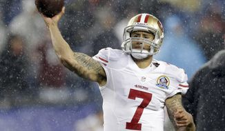 San Francisco 49ers quarterback Colin Kaepernick (7) warms up before an NFL football game against the New England Patriots in Foxborough, Mass., Sunday, Dec. 16, 2012. (AP Photo/Elise Amendola)