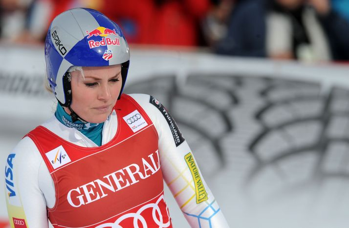 Lindsey Vonn, of the United States, is seen at the finish area after failing to complete a women's Alpine Ski World Cup downhill race, in Val d'Isere, France, Friday, Dec.14, 2012. (AP Photo/Pier Marco Tacca)