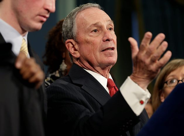 **FILE** New York City Mayor Michael Bloomberg speaks at City Hall in New York on Dec. 17, 2012. (Associated Press)