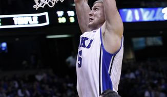 Duke forward Mason Plumlee (5) takes a shot in front of Temple guard T.J.DiLeo (11)  during the first half of an NCAA college basketball game in in East Rutherford, N.J., Saturday, Dec. 8, 2012.  (AP Photo/Mel Evans)