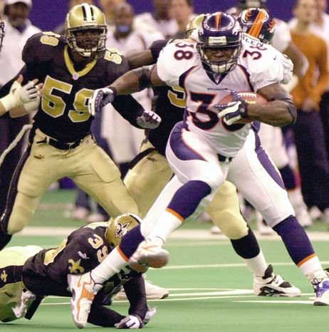 Mike Anderson was taken in the sixth round of the 2000 draft out of Utah and went on to gain 1,487 yards as a rookie for the Broncos, including a 251-yard performance against the Saints. (Associated Press)