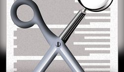 Illustration Spending Cuts by Alexander Hunter for The Washington Times