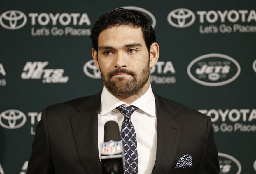 New York Jets quarterback Mark Sanchez answers questions following the Jets' 14-10 loss to the Tennessee Titans in an NFL football game on Monday, Dec. 17, 2012, in Nashville, Tenn. (AP Photo/Joe Howell)