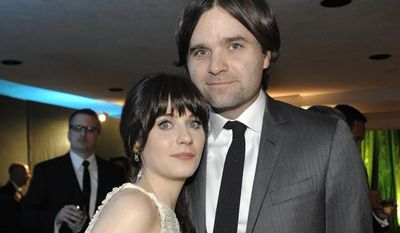 Actress Zooey Deschanel and her husband, rocker Ben Gibbard, attend HBO's Golden Globes party in Beverly Hills, Calif., in January 2011. (AP Photo/Dan Steinberg)