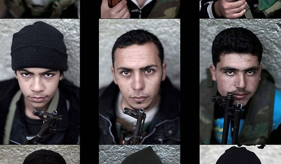 In this combination of photos made of nine photos taken on Monday, Dec. 17, 2012, Syrian rebel fighters pose for a picture, following a training session in Maarret Ikhwan, near Idlib, Syria. (AP Photo/Muhammed Muheisen)