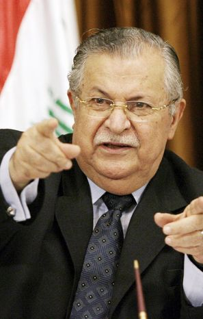 Iraqi President Jalal Talabani, who was hospitalized late Wednesday with what unofficially is being described as a stroke, will be taken to Germany for more treatment. (Associated Press)