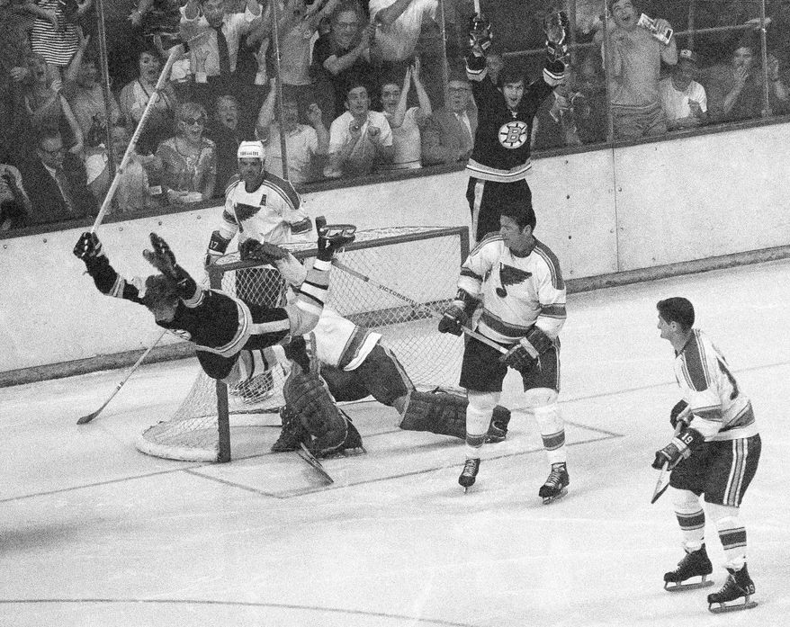 Bruins defenseman Bobby Orr scored a goal for the ages to clinch the Stanley Cup in 1970. (AP Photo/A.E. Maloof, File)