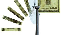 Illustration Wind Power by Greg Groesch for The Washington Times