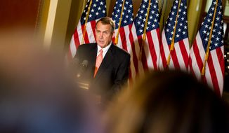 House Speaker John Boehner (R-Ohio) speaks at a press conference on the fiscal cliff negotiations at the U.S. Capitol Building, Washington, D.C., Wednesday, Dec. 19, 2012. (Andrew Harnik/The Washington Times)