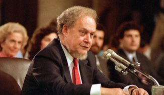 ** FILE ** In this Sept. 16, 1987, file photo, U.S. Supreme Court nominee Robert H. Bork testifies before the Senate Judiciary Committee during his confirmation hearings on Capitol Hill. Robert Bork, whose failed Supreme Court nomination made history, has died. (AP Photo/Charles Tasnadi)