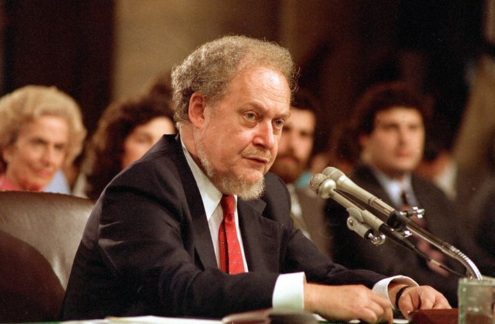 ** FILE ** In this Sept. 16, 1987, file photo, U.S. Supreme Court nominee Robert H. Bork testifies before the Senate Judiciary Committee during his confirmation hearings on Capitol Hill. Robert Bork, whose failed Supreme Court nomination made history, has died. (A