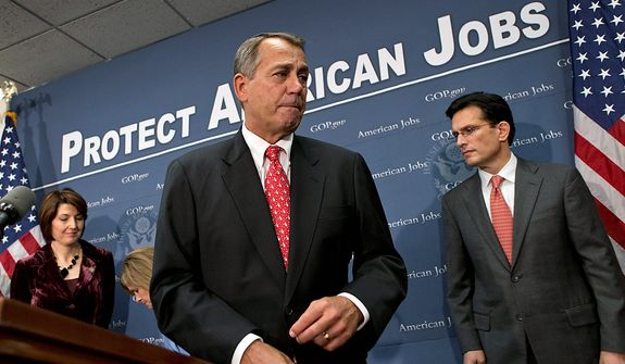 ** FILE ** Speaker of the House John Boehner, R-Ohio, joined by Rep. Cathy McMorris Rodgers, left, and House Majority Leader Eric Cantor, R-Va., right, as they finish a news conference about the fiscal cliff negotiations after a closed-door GOP strategy session, at the Capitol in Washington, Tuesday, Dec. 18, 2012. (AP Photo/J. Scott Applewhite)