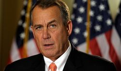 """House Speaker John A. Boehner, Ohio Republican, addresses reporters on the """"fiscal cliff"""" negotiations on Capitol Hill in Washington on Wednesday, Dec. 19, 2012. (AP Photo/Susan Walsh)"""