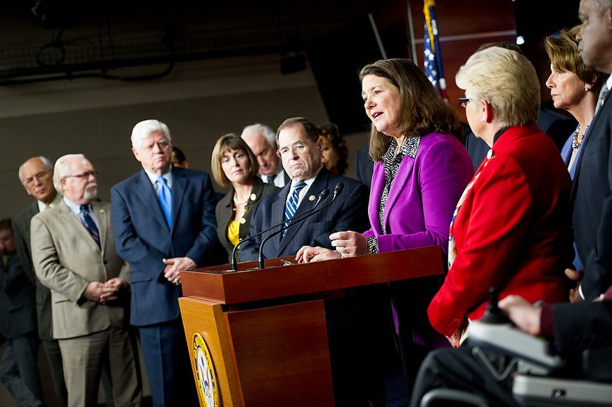 Reps. Diana DeGette (D-Colo.), fourth from right, who represents the district that Columbine High School is in and is near Aurora, where a gunman opened fire inside a movie theatre, speaks at a news conference calling for a ban on high capacity ammunition clips with fellow House Democrats in the House Visitors Center on Capitol Hill, Washington, D.C., Wednesday, December 19, 2012. (Andrew Harnik/The Washington Times)
