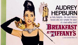 "A movie poster advertises ""Breakfast at Tiffany's,"" starring Audrey Hepburn. The film is among those being preserved for their enduring significance in American culture in the National Film Registry at the Library of Congress. (AP Photo/Paramount Home Video)"