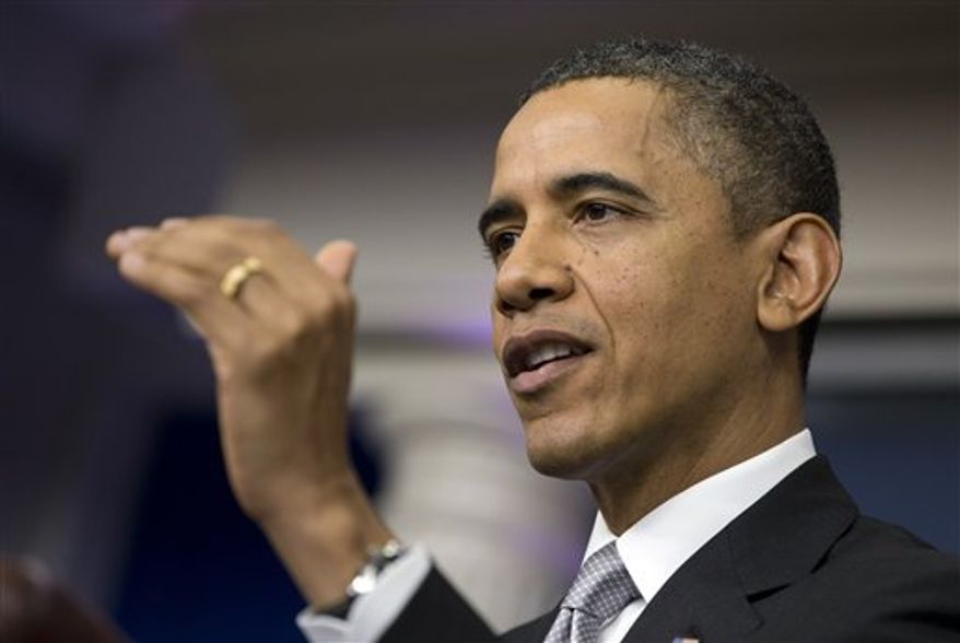 ** FILE ** President Obama speaks at a news conference in the briefing room of the White House on Wednesday, Dec. 19, 2012 in Washington. (AP Photo/ Evan Vucci)