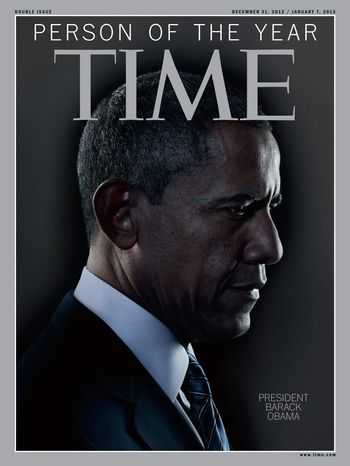 "In this image released Wednesday, Dec. 19, 2012, in New York by Time Inc., President Barack Obama is Time Magazine's Person of the Year. The selection was announced Wednesday on NBC's ""Today"" show. (AP Photo/Time Magazine)"