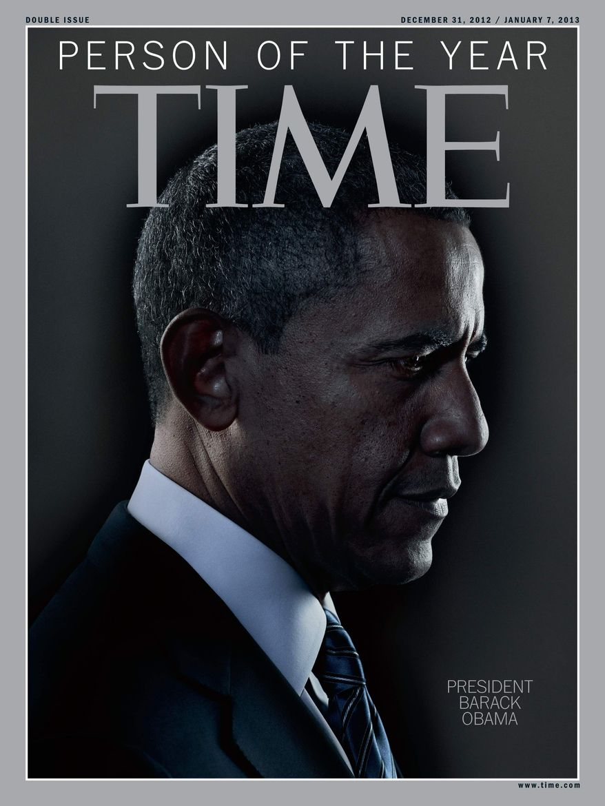 """In this image released Wednesday, Dec. 19, 2012, in New York by Time Inc., President Barack Obama is Time Magazine's Person of the Year. The selection was announced Wednesday on NBC's """"Today"""" show. (AP Photo/Time Magazine)"""