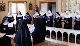 The Benedictines of Mary, Queen of the Apostles, are cloistered, so a recording studio was set up at their priory in Missouri. Their album was recorded in three days. (Courtesy of Benedictines of Mary)