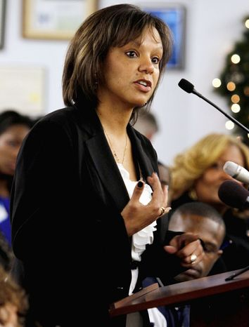 Democrat Robin Kelly speaks at a candidate presentation meeting in South Holland, Ill., on Saturday. The purpose was to nominate a candidate for the House seat vacated by Jesse L. Jackson Jr. The seat will be filled after a primary Feb. 26 and a special election April 9. (Associated Press)