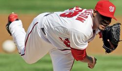 Edwin Jackson was 10-11 with a 4.03 ERA for the Nationals last season. He agreed to a four-year deal worth $52 milion with the Chicago Cubs, who also have added starting pitchers Scott Baker and Scott Feldman this offseason. (Associated Press)