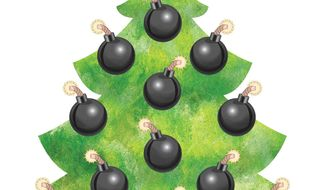 Illustration Christmas Bombs by Greg Groesch for The Washington Times