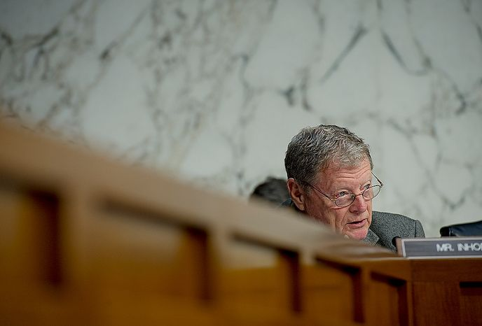 Sen. James Inhofe (R-Okla.) asks questions during a hearing Thursday, Dec. 20, 2012 before the Senate Foreign Relations Committee on the Benghazi attack. William J. Burns, deputy secretary of state, and Thomas R. Nides, deputy secretary of  state for management and resources, were witnesses. (Barbara L. Salisbury/The Washington Times)
