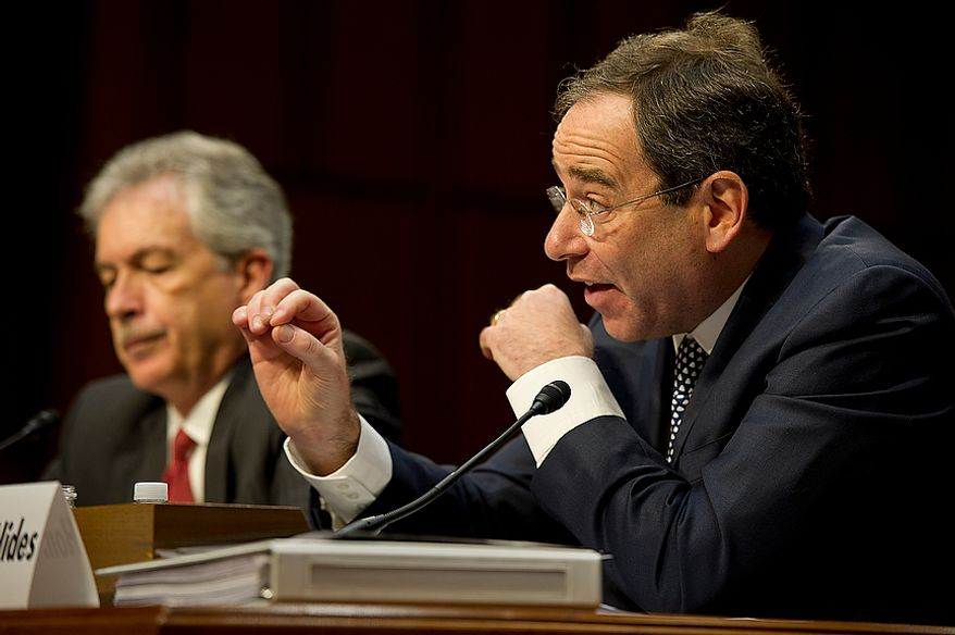 Thomas R. Nides, right, deputy secretary of  state for management and resources, testifies before the Senate Foreign Relations Committee on Thursday, Dec. 20, 2012. Nides said that he was in the room with Secretary of State Hillary Clinton after the attack on the embassy and that her first priority was trying to save lives. (Barbara L. Salisbury/The Washington Times)