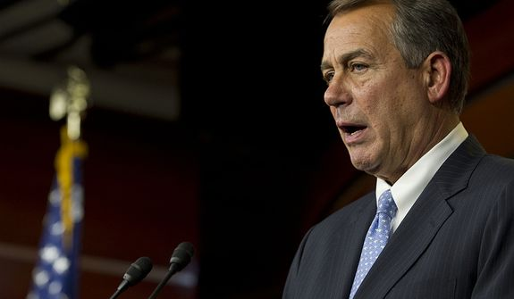 "** FILE ** House Speaker John A. Boehner told the media, ""I did my part,"" during a press conference on negotiations on the ""fiscal cliff"" at the U.S. Capitol on Thursday, Dec. 20, 2012. (Barbara L. Salisbury/The Washington Times)"