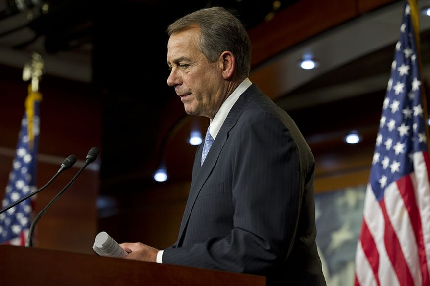 "Speaker of the House John A. Boehner told the media ""I did my part,"" during a press conference regarding negotiations on the fiscal cliff at the U.S. Capitol on Thursday, Dec. 20, 2012. Republicans have agreed to tax increases for those making more than $1 million, whereas President Obama wants the cutoff to be those with salaries of $400,000 or greater. (Barbara L. Salisbury/The Washington Times)"