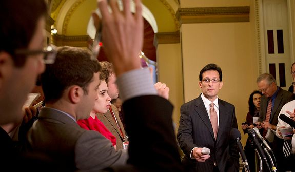 "House Majority Leader Rep. Eric Cantor, R-Va., calls on a reporter during a news conference about the fiscal cliff and ""Plan B,"" at the U.S. Capitol in Washington, on Thursday, Dec. 20, 2012. (AP Photo/Jacquelyn Martin)"