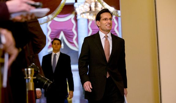 "House Majority Leader Rep. Eric Cantor, R-Va., arrives to a news conference to speak about the fiscal cliff and ""Plan B,"" at the U.S. Capitol in Washington, on Thursday, Dec. 20, 2012. (AP Photo/Jacquelyn Martin)"