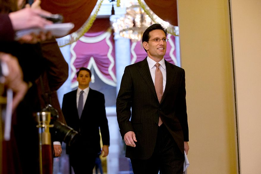 """House Majority Leader Rep. Eric Cantor, R-Va., arrives to a news conference to speak about the fiscal cliff and """"Plan B,"""" at the U.S. Capitol in Washington, on Thursday, Dec. 20, 2012. (AP Photo/Jacquelyn Martin)"""