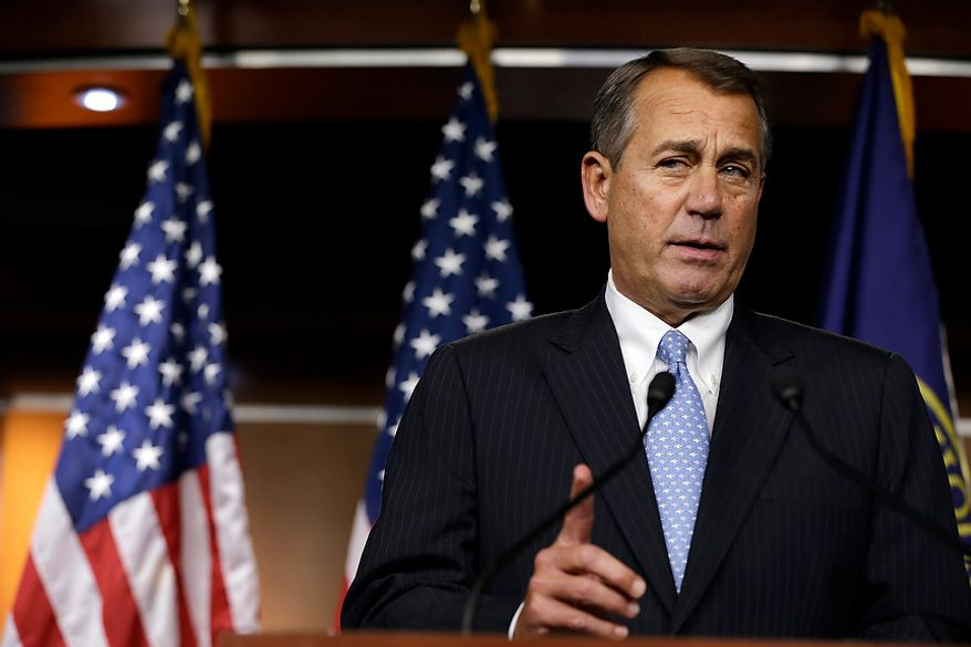 House Speaker Rep. John Boehner of Ohio, speaks to the media about the fiscal cliff at the U.S. Capitol in Washington, on Thursday, Dec. 20, 2012. (AP Photo/Jacquelyn Martin)