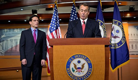 "Speaker of the House John Boehner, R-Ohio, joined by House Majority Leader Eric Cantor, R-Va., speaks to reporters about the fiscal cliff negotiations at the Capitol in Washington, Friday, Dec. 21, 2012. Hopes for avoiding the ""fiscal cliff"" that threatens the U.S. economy fell Friday after fighting among congressional Republicans cast doubt on whether any deal reached with President Barack Obama could win approval ahead of automatic tax increases and deep spending cuts kick in Jan. 1.  (AP Photo/J. Scott Applewhite)"