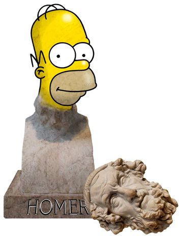 Illustration Homer's Literacy by Greg Groesch for The Washington Times