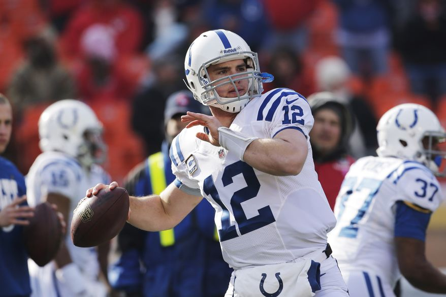 Indianapolis Colts quarterback Andrew Luck (12) during the first half of an NFL football game against the Kansas City Chiefs Sunday, Dec. 23, 2012, in Kansas City, Mo. (AP Photo/Charlie Riedel)