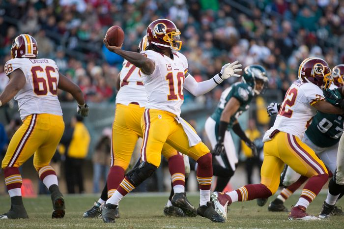 Washington Redskins quarterback Robert Griffin III (10) throws in the fourth quarter as the Washington Redskins play the Philadelphia Eagles at Lincoln Financial Field, Philadelphia, Pa., Sunday, December 23, 2012. (Andrew Harnik/The Washington Times)