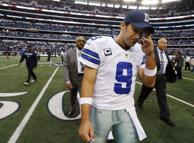 Dallas Cowboys quarterback Tony Romo (9) leaves the field after overtime play of an NFL football game against the New Orleans Saints, Sunday, Dec. 23, 2012 in Arlington, Texas. The Saints won 34-31. (AP Photo/Sharon Ellman)