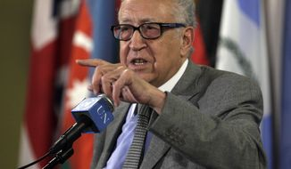 Lakhdar Brahimi, joint special representative of the United Nations and the League of Arab States for Syria, answers media questions after consultations at U.N. headquarters on Thursday, Nov. 29, 2012. (AP Photo/Richard Drew)