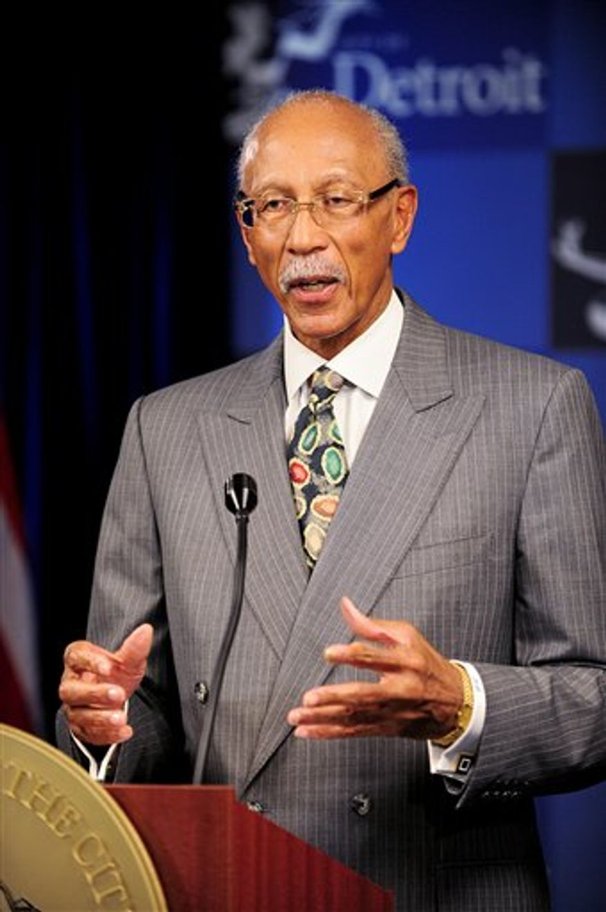 ** FILE ** In this Nov. 21, 2012 photo, Detroit Mayor Dave Bing gives a news conference on the city's budget shortfall. (AP Photo/The Detroit News, Ricardo Thomas)