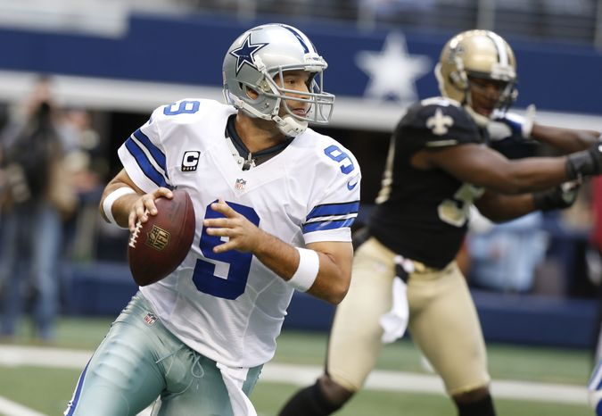 Dallas Cowboys quarterback Tony Romo (9) looks to pass during the second half of an NFL football game against the New Orleans Saints  Sunday, Dec. 23, 2012 in Arlington, Texas. (AP Photo/Sharon Ellman)