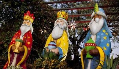 This January 2012 publicity photo provided by Disneyland shows figures representing the Three Kings at a Three Kings Day celebration at the theme park in Anaheim, Calif. Disneyland launched the Three Kings Day celebration in 2012 as a test and is expanding it in January 2013 because it was so popular. (AP Photo/Disneyland)