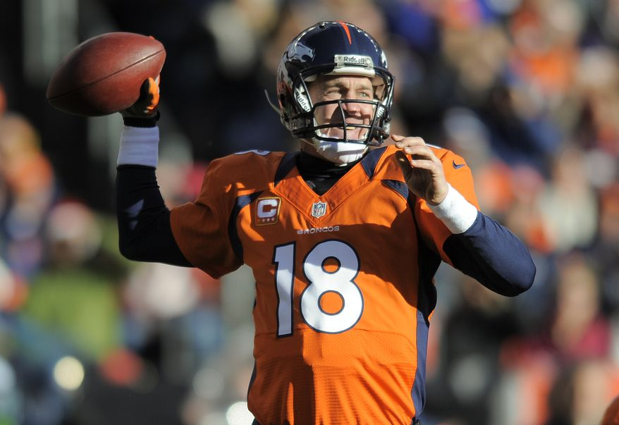 Denver Broncos quarterback Peyton Manning sets to throw a pass in the second quarter of an NFL football game against the Cleveland Browns, Sunday, Dec. 23, 2012, in Denver. (AP Photo/Jack Dempsey)