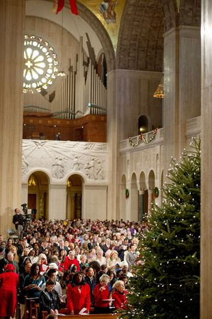 A congregation of 4,000 fill the main church as Archbishop of Washington Cardinal Donald Wuerl leads the Solemn Mass of Christmas Day at the Basilica of the National Shrine of the Immaculate Conception, Washington, D.C., Tuesday, December 25, 2012. (Andrew Harnik/The Washington Times)